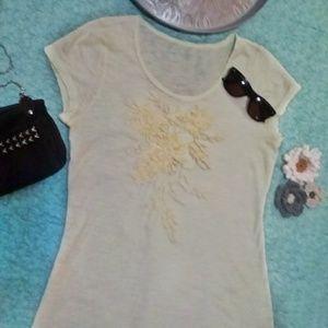 Embroidered Cream Tee
